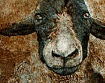 Ewe Make Me Smile is a 2 plate etching/collagraph created and hand pulled by the artist