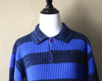 80's Stripped Rugby Style Knit Sweater