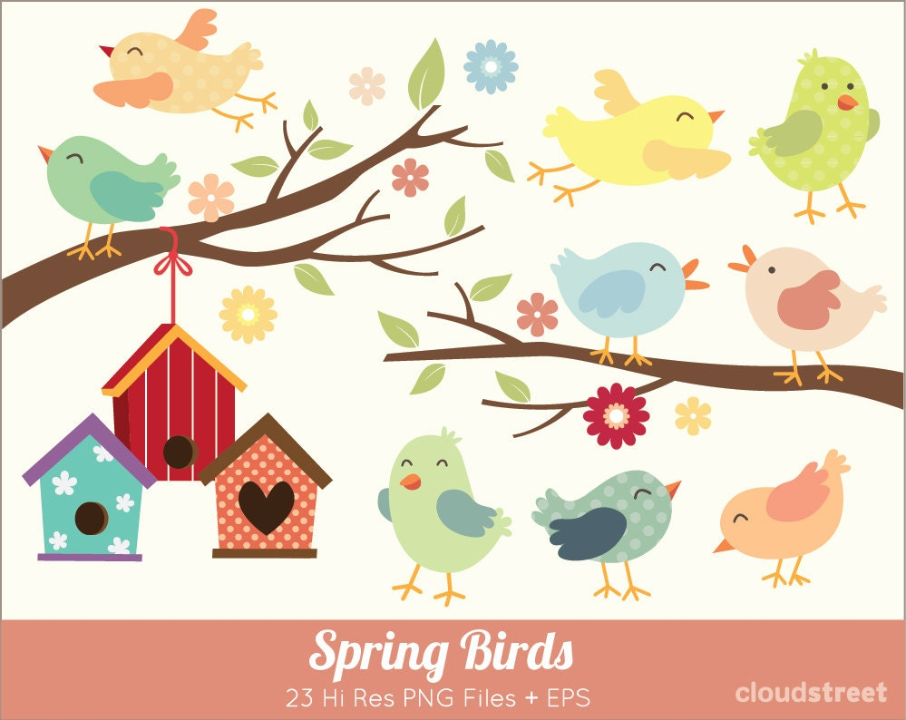 Spring Birds Clipart for personal and commercial use Cute