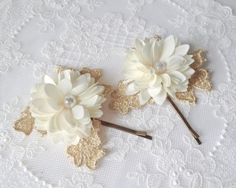 Set of 2 Vintage gold leaves cream ivory fabric Flower bobby pin set (2pcs)