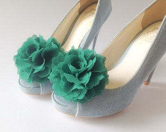 Emerald Green-Set of 2,Chiffon flower shoe clips for bridal wedding-Choose your Color