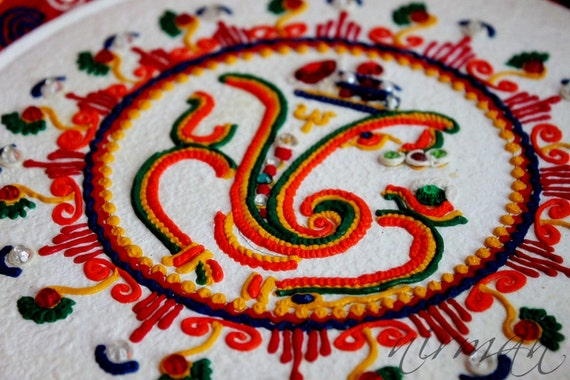 Ganesh pooja thali decorative henna mehndi design for Aarti thali decoration ideas for ganpati