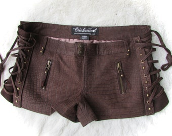 ON SALE! suede steampunk shorts brown leather laceup shorts biker pixie style burning man
