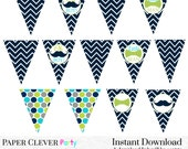 Mustache Baby Shower Banner -- Fun Navy Chevron Baby Decorations - Oh Boy Party Banner - Bow Tie Baby Photo Prop - Instant Download Party