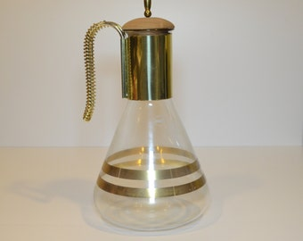 Vintage 1950 Atomic Era Corning Coffee Carafe, Gold Bands, Brass accents, Wooden stopper