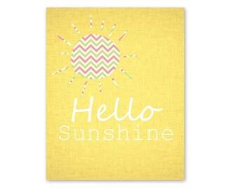 Nursery Art Print Baby playroom - 8x10 - Hello Sunshine - Sun - Chevron - Wall Decor