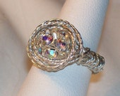 Wire wrapped silver twisted wire ring, 10 mm round multi crystal bead for center size 6