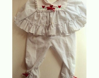 Vintage 2 piece polka dot and tulip set 3-6 Months