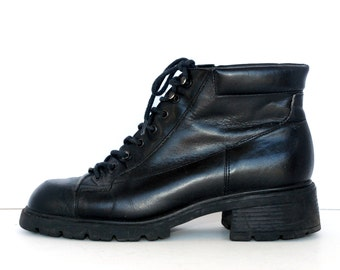 Black Leather Lug Sole GRUNGE Boots 7