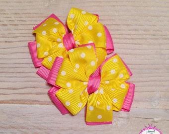 Pink and Yellow Dot Bows, Piggy Bow Set, polka dot hair bows,  hair bow set, stacked hair bows,  Layered hair bows, hair clips,