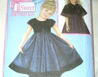 Uncut Simplicity Daisy Kingdom 4511 Sweet Memories Girls Dress & Capelet Cape size 5-6-7-8