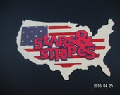 USA Maps, Stars and Stripes Embellishment, Scrapbook, Cards, Topper, 4th of July, Red White & Blue, Patriotic