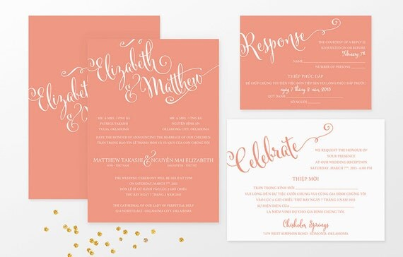 sample bilingual vietnamese wedding invitation set script font invitation reception and rsvp flat card invitation sample card stock - Vietnamese Wedding Invitation