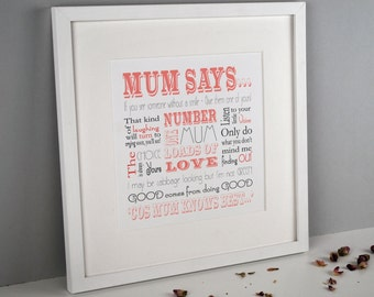 Personalised Print for Mothers Day