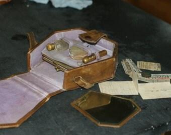 RARE - 1910s Ethel Barrymore Beauty Case, Vintage Beauty Case, Antique Clutch, Ethel Barrymore, Leather Case