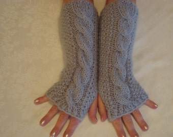 Knit  Fingerless Gloves.Alpaca. Arm/Hand  Warmers.Siver.Cable.Long.Women Girls.Gifts.