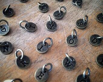 Alphabet Letter Charms A-Z, 6mm Charm Letters, Monogram Round Disc, Antique Bronze (D0-)