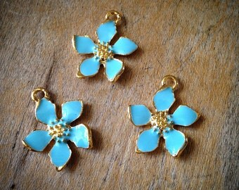 4 Pcs Teal Gold Flower Vintage Style Flowers Pendant Charm Jewelry Supplies (C058)