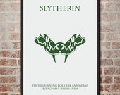 The Houses of Hogwarts: Slytherin Minimalist Harry Potter Poster