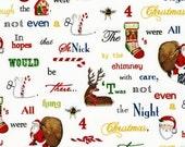 SALE- Robert Kaufman Fabrics - Holly Jolly Christmas 3 - Holiday Word Fabric - White - Choose Your Cut 1/2 or Full Yard