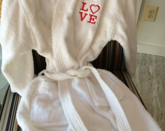 Valentines Day Gift of LOVE Plush Spa Terry Robe