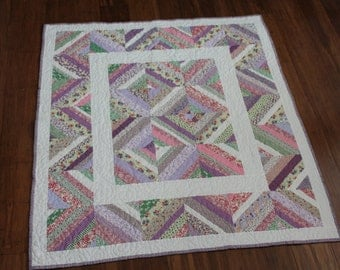 Pastel Baby Girl String Quilt, Handmade Scrap quilt in Pink, Lavender and White