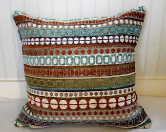 IN STOCK / Turquiose, Green and Teracotta and Ivory Pillow Cover / 20 X 20 /  Same fabric both sides