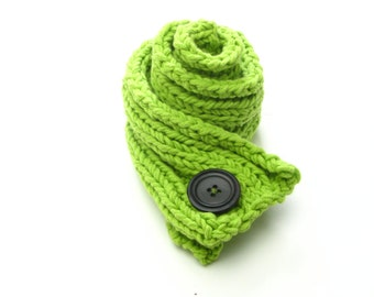 Knitted scarflette - a one button scarf / headband to warm ears or necks - green, lime, sherbet, apple