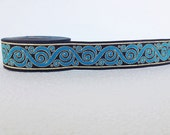 33 mm blue and black Jacquard ribbon, Embroidered border, blue and black gold Sewing trim, Scroll Jacquard trim, patterned Border