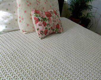 Crocheted Bedspread or Coverlet, 79 x 71, Off White, Vintage Bedding, Home Bedroom Decor Vintage Linens by TheSweetBasilShoppe