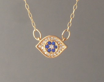 Gold Evil Eye Pave Crystal Necklace also in Silver