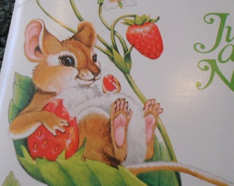 Vintage Note Cards Blank Postcards Cute Spring Mouse 12 Fold over Cards Cute Mouse Strawberry Stationary Current