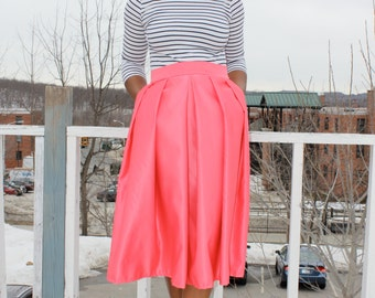 Coral Midi Skirt With Pockets- available in 12 colors