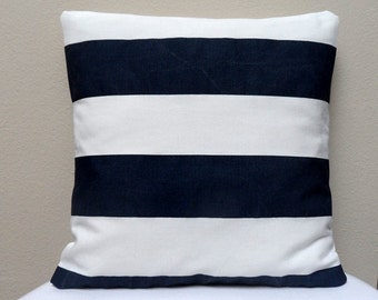 Home Decor Pillowcase Navy Blue and White
