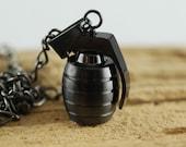 Black grenade necklace, Mens hand grenade pendant necklace