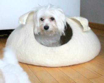 Pets bed / dog bed - dog cave - small dog house - eco-friendly handmade felted wool dog bed -  natural white with curly ears