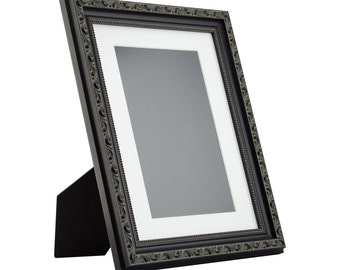 Wide Distressed Black Picture Frame Hand Painted Shabby