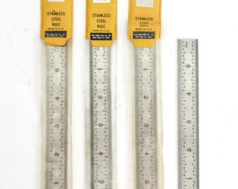 FOUR 6in Machinest Rulers General 676 Rigid Stainless Steel 8ths 16ths 32nds 64ths