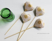 SALE 15% OFF . 4 origami cake picks . table decorations . origami heart decors . party picks {heart like a balloon} -yellow dots on text