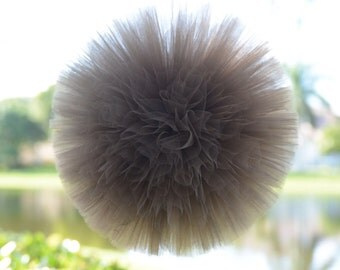 Brown tulle poms, party decorations, weddings, baby showers, room decor