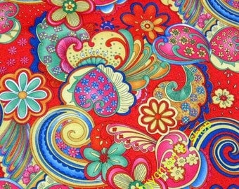 WF203  - Vinyl Waterproof Fabric - Flower - spindrift - Red - 1/2  yard