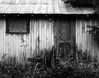 Empty Reminiscence - Original Fine Art Photograph - Black and White, Rural Urban Decay, FREE SHIPPING