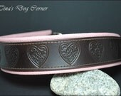 martingale style leather dog collar celtic heart