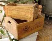set 2,vintage,small wooden crates with French typography,advertising designs-shabby chic