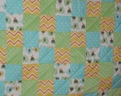 Elephants and Turtles Patchwork Flannel and Minky Baby Quilt.  Gender Neutral in Green, Yellow, Orange and Turquoise.  Soft, happy Quilt.