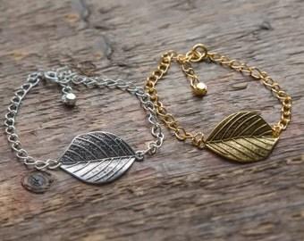 Leaf Bracelet, Gold Leaf Bracelet, Silver Leaf Bracelet, Woodland Bracelet Elven Bracelet Forest Jewelry Tree Jewelry Gift for Nature Lover