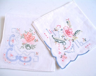 Vintage Embroidered Handkerchiefs, Set of 2, Wedding or Special Occasion Gift