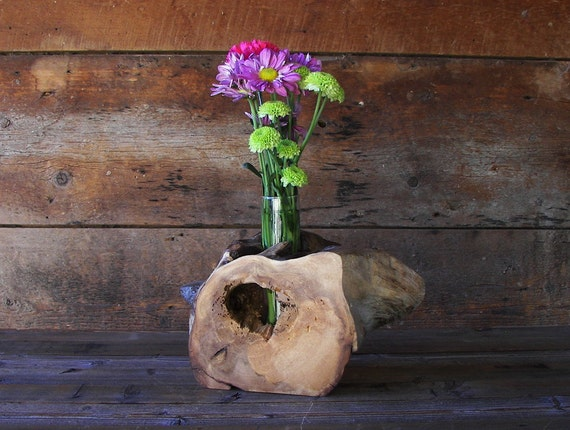 Rustic hollow log vase drift wood home d cor by for Ica home decor
