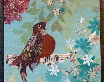 Spring Robin, Original mixed media, cut paper, brown and turquoise, robin redbreast in tree, singing, velum flowers