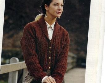 Vintage Knitting Pattern Patons PBND5197.Lady's Cable Jacket .30 - 40 inch. DK
